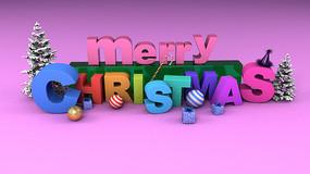 圣诞节C4D字体模型