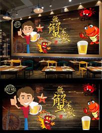 香辣蟹海鲜背景墙
