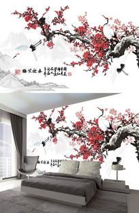 中式水墨梅花山水背景墙装饰画