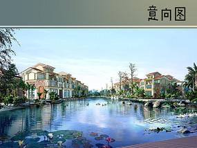 别墅建筑水景