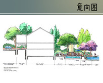 别墅庭院手绘剖面图