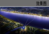 滨江核心区景观夜景效果图