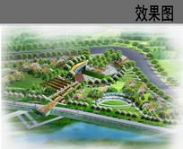 滨水公园入口广场鸟瞰图
