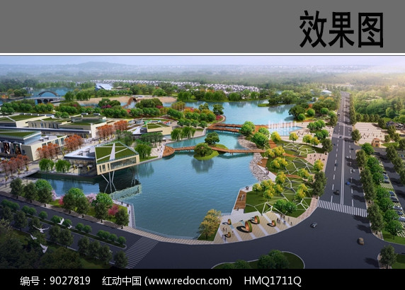 滨水公园入口景观效果图图片
