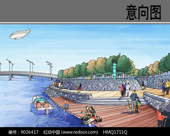 滨水景观设计手绘效果图图片