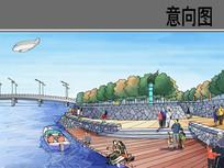 滨水景观设计手绘效果图