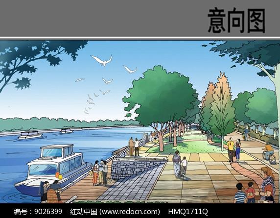 滨水景观手绘效果图图片