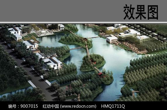 滨水生态景观鸟瞰图图片