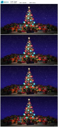 彩色灯光圣诞树新年视频