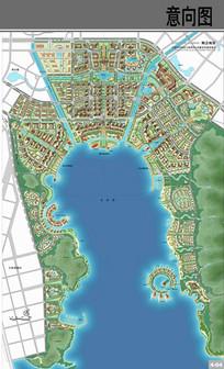 城市滨海中心景观平面图