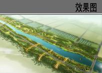 带状湿地公园鸟瞰图