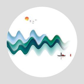 新中式抽象山水意境装饰画 JPG