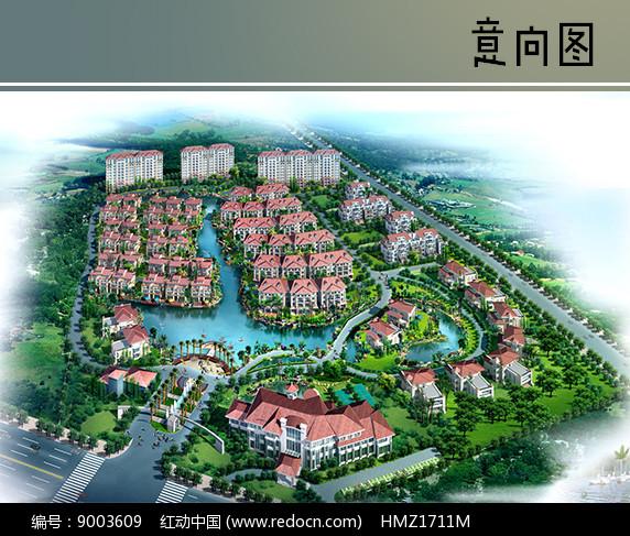 粉色住宅建筑群鸟瞰图图片