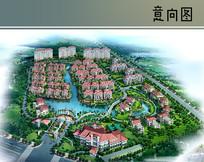 粉色住宅建筑群鸟瞰图