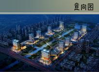 高层住宅楼商业区鸟瞰图