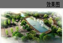 公园滨水广场鸟瞰图