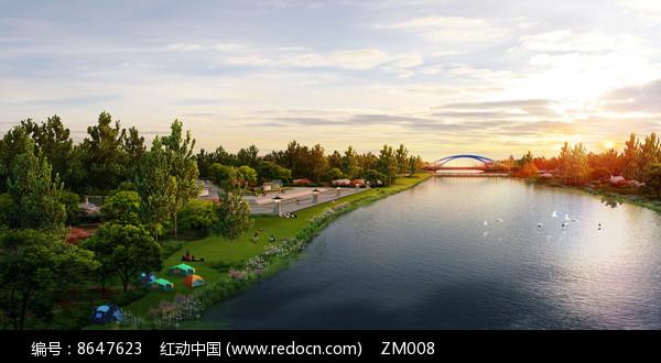 公园滨水景观图片