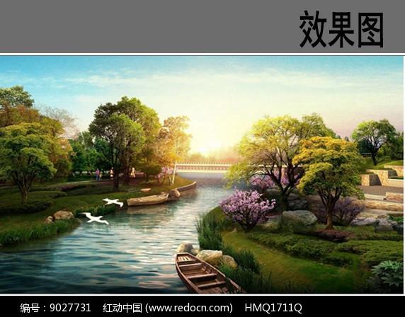公园滨水景观效果图图片