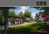 公园景观廊架效果图 JPG