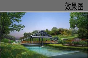公园廊桥景观效果图
