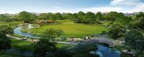 公园休闲绿地效果图