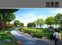 公园园路绿化景观效果图 JPG