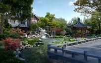 古典园林公园效果图