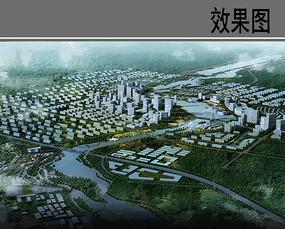 河道景观设计鸟瞰图