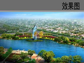 湖区中心雕塑效果图