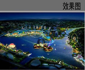 湖中心景观夜景效果图