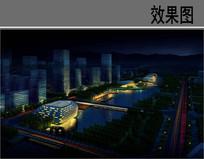 内湖公园设计夜景效果图