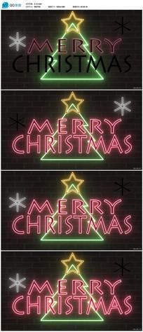 霓虹灯圣诞节视频