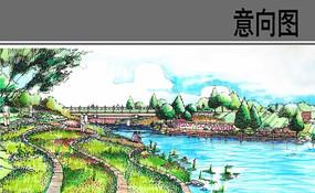 桥头公园手绘效果图