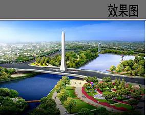 桥头景观效果图