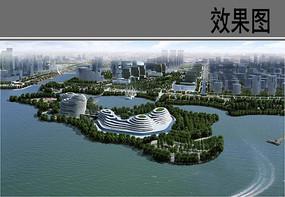 情人岛设计概念鸟瞰图