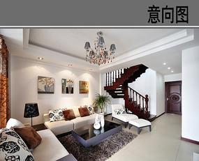 清爽的小别墅客厅装修意向