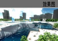 山水下沉广场效果图
