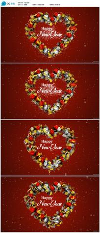 圣诞球组成爱心新年视频