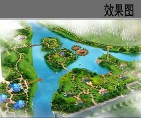 生态岛公园鸟瞰图