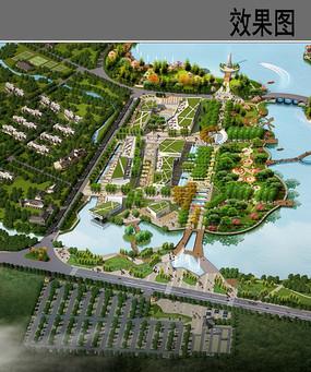 生态公园商业区景观鸟瞰图