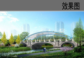 市政桥梁景观效果图