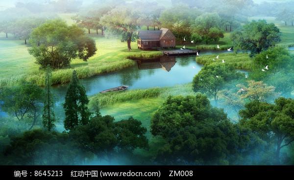 水景草坪景观效果图图片