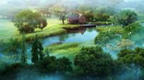 水景草坪景观效果图
