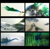 水墨彩色中国元素组合延伸视频