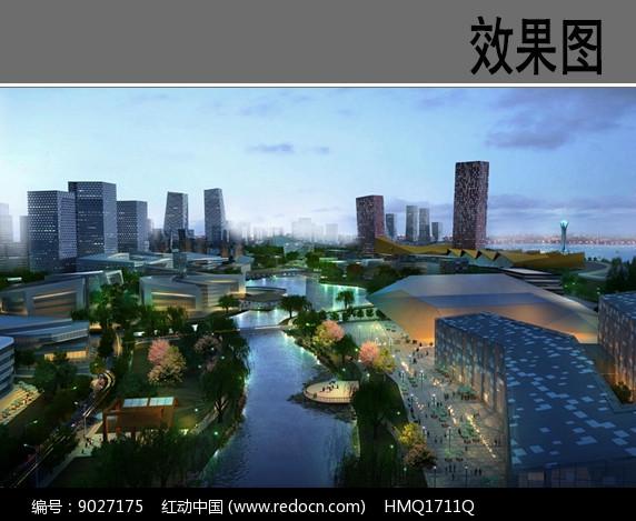现代滨水带状公园效果图图片