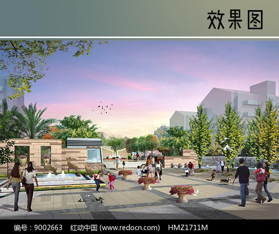 小区入口广场景观图片