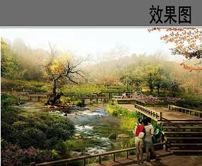 溪流景观透视效果图