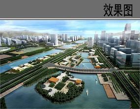 休闲滨河商业带鸟瞰图