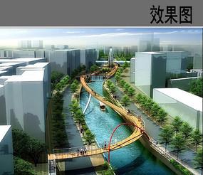 运河栈桥景观效果图