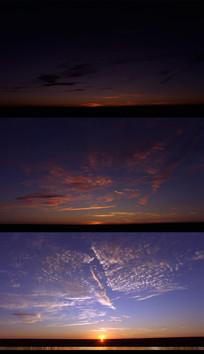 早晨太阳升起地平线实拍视频
